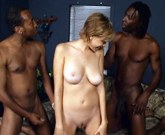 White busty woman and two black men