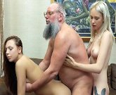 Young blonde and brunette fuck with horny grandpa